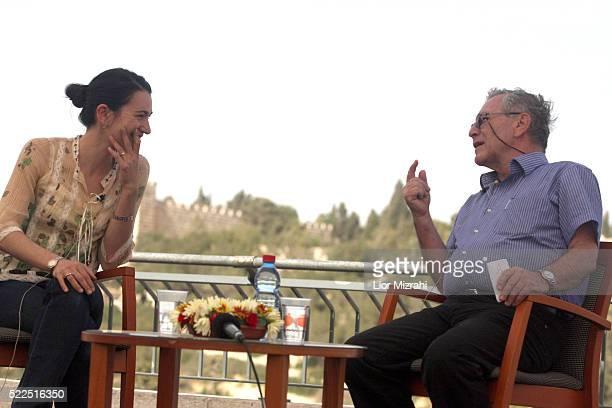 American author Nicole Krauss speaks with Israeli author Amos Oz, during Mishkenot Sha'ananim International Writers Festival on May 13, 2008 in...
