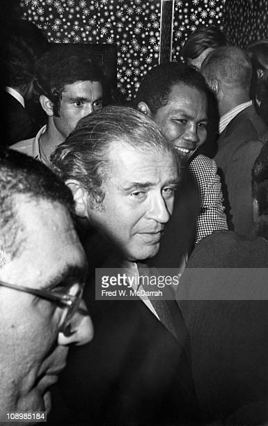 American author Norman Mailer attends an unspecified event New York New York September 9 1968 Puerto Rican professional boxer Jose Torres is visible...