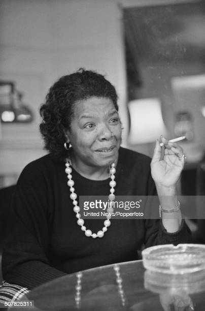 American author, poet and singer Maya Angelou pictured smoking a cigarette in London on 21st October 1985.