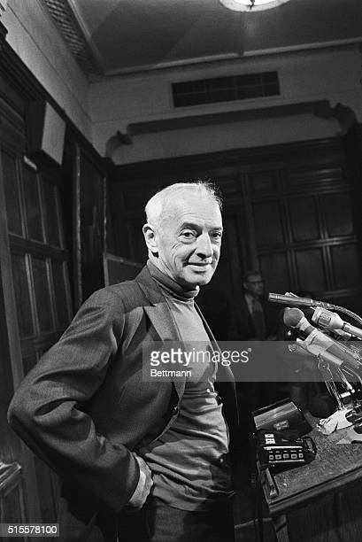 American author Saul Bellow stands before a press conference to discuss his Nobel Prize for Literature in 1976.