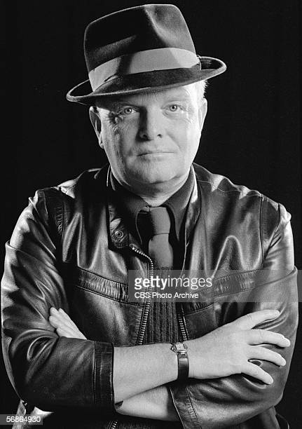 American author Truman Capote wears a leather jacket and has his arms crossed in a publicity photo for his appearance on 'The Sonny and Cher Comedy...