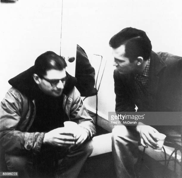 American authors Allen Ginsberg and Jack Kerouac talk together at the Hansa Gallery New York New York March 16 1959 The pair were at the gallery to...