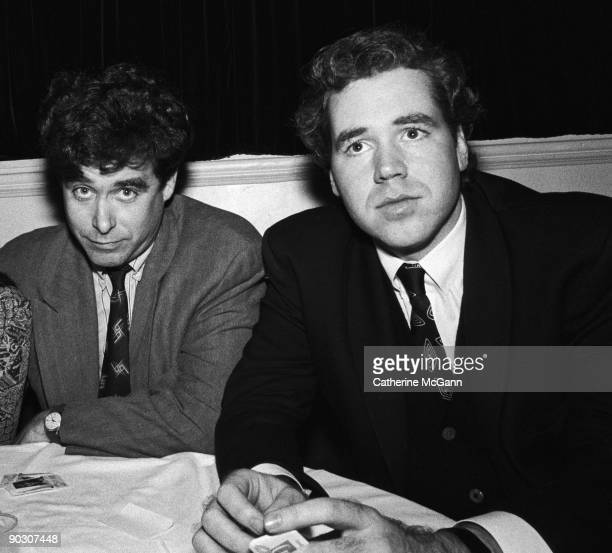 American authors Jay McInerney and Bret Easton Ellis at a party for the premiere of John Waters' film 'CryBaby' on April 3 1990 in New York City New...