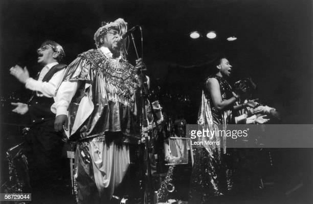 American avant garde jazz musician Sun Ra in concert circa 1985