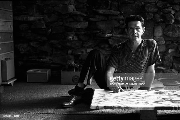 American avantgarde composer John Cage poses for a portrait at home for his 1959 Folkways album Indeterminacy in August 1959 in Haverstraw New York