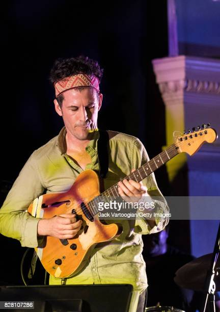 American AvantGarde Free Jazz musican Brandon Seabrook plays guitar as he performs with Gerald Cleaver's Black Host during 'Vision Festival 22 Free...