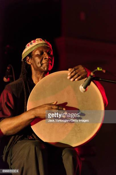 American AvantGarde Free Jazz musican Hamid Drake plays frame drum as he performs during the 'Opening Invocation' on the first night of 'Vision...