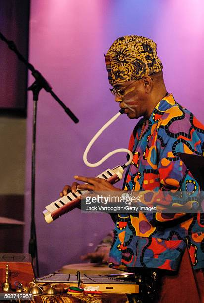American avantgarde free jazz musician and composer Joseph Jarman plays melodica as he performs with the Art Ensemble of Chicago at the Iridium Jazz...
