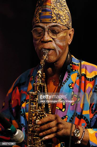 American avantgarde free jazz musician and composer Joseph Jarman plays alto saxophone as he performs with the Art Ensemble of Chicago at Iridium...