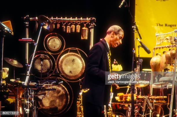 American AvantGarde Jazz musician Roscoe Mitchell plays percussion as he performs with the Art Ensemble of Chicago during the 'What Is Jazz' Festival...
