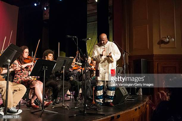 American Avant-Garde Jazz musician William Parker conducts the Billy Bang Tribute Band on the closing night of Vision Festival 16 'Take A Stand' in...