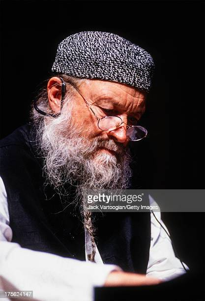 American avantgarde minimalist composer Terry Riley performs at the piano in a solo World Music Institute concert at Merkin Concert Hall New York New...