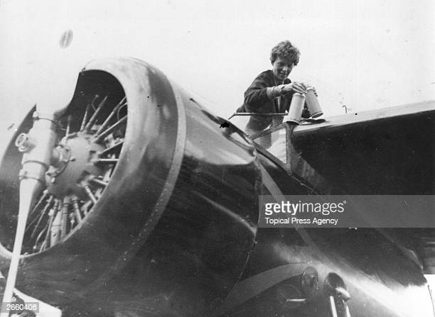 American aviator Amelia Earhart in the cockpit of her aeroplane at Culmore near Derry Ireland after her solo Atlantic flight