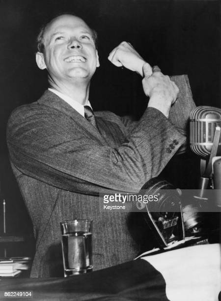 American aviator Charles Lindbergh addresses the crowds in Madison Square Garden, New York, during an 'America First' rally, to oppose American entry...