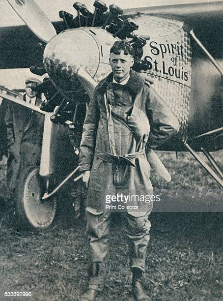 American aviator Charles Lindbergh and his plane 'Spirit of St Louis' from 'Wonders of World Aviation Vol 1' by Clarence Winchester c1937 In 1927...