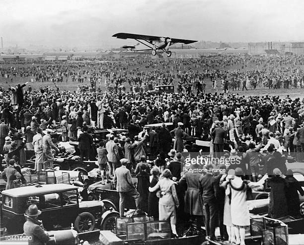 American aviator Charles Lindbergh arrives at Croydon Aerodrome London after a flight from Evere Aerodrome in Brussels in his Ryan monoplane the...