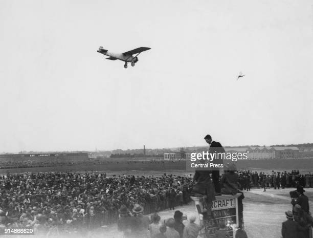 American aviator Charles Lindbergh arrives at Croydon Aerodrome, London after a flight from Evere Aerodrome in Brussels in his Ryan monoplane, the...