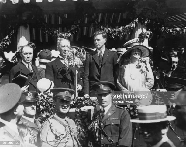 American aviator Charles Lindbergh arrives back in America after his historic transatlantic solo flight 1927