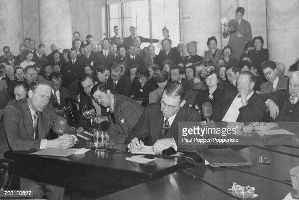 American aviator Charles Lindbergh pictured left testifying before the Senate Foreign Relations Committee in Washington DC United States on 6th...