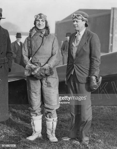 American aviator Charles Lindbergh takes Irish Taoiseach Éamon de Valera for a flight in his new Miles Mohawk aircraft at Baldonnel Aerodrome near...