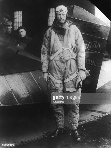 American aviator Charles Lindbergh with a Curtiss aircraft, April 1929.