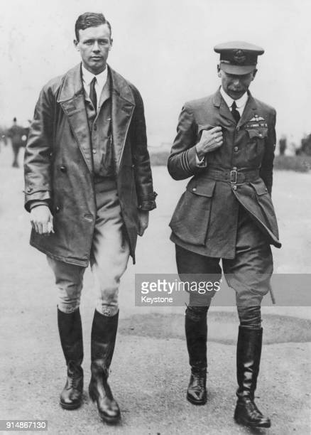 American aviator Charles Lindbergh with Air Commodore Newell of the RAF after his historic flight across the Atlantic, 1927.