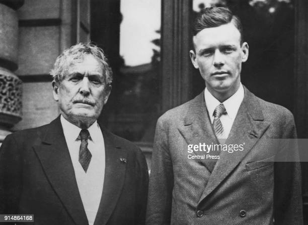 American aviator Charles Lindbergh with Myron T Herrick the US Ambassador to France at the American Embassy in Paris after receiving the Légion...