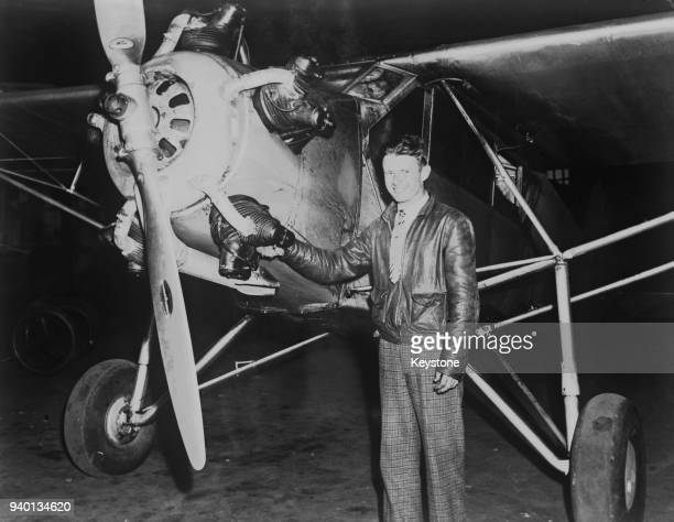 American aviator Douglas Corrigan at Roosevelt Field in New York after a 27 hour flight from Long Beach California in his jerrybuilt Curtiss Robin...