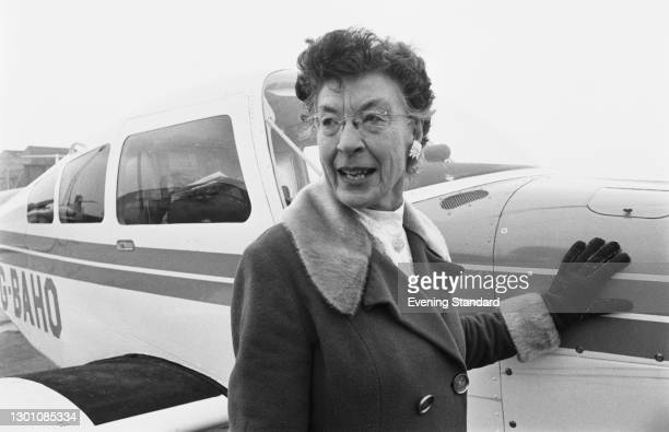 American aviator Louise Sacchi , founder of Sacchi Air Ferry Enterprises, at Luton Airport, UK, with a Beechcraft C23 Sundowner, 5th February 1973....