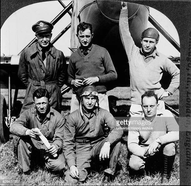 6 American Aviators who took part in First Around the World Flight April 6 September 24 Seattle Washington USA Portrait