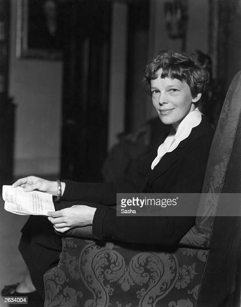 American aviatrix Amelia Earhart at the home of the American ambassador to Britain