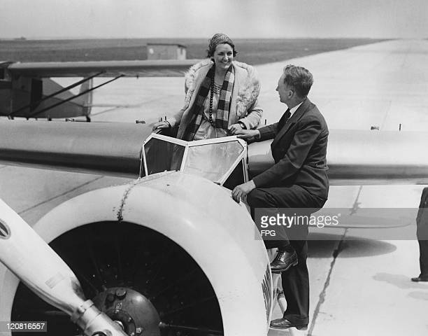 American aviatrix Ruth Rowland Nichols with her advisor transatlantic flyer Clarence D Chamberlin at Floyd Bennett Field Brooklyn New York 20th May...
