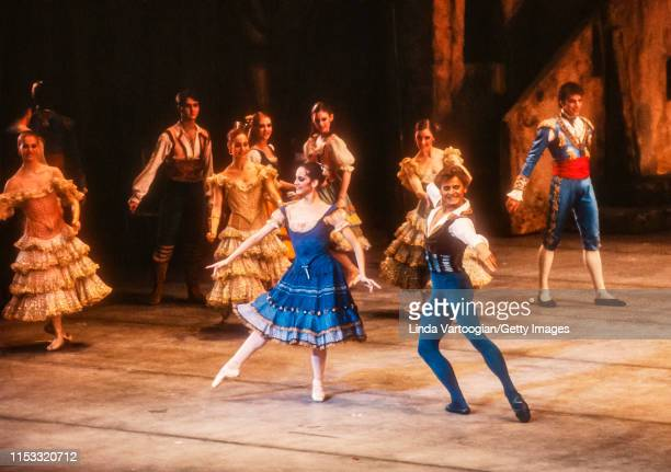 American ballerina Cynthia Harvey and Russian-born American ballet dancer Mikhail Baryshnikov , with the company, perform in the American Ballet...