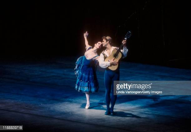 American ballerina Cynthia Harvey and Russian-born American ballet dancer Mikhail Baryshnikov perform in the American Ballet Theater production of...