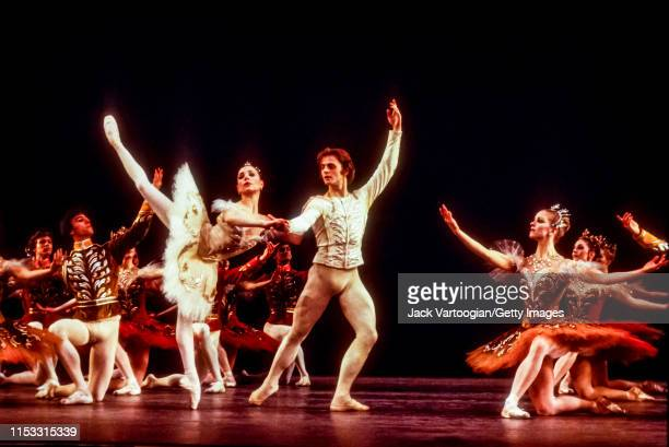 American ballerina Gelsey Kirkland and Russian-born American ballet dancer Mikhail Baryshnikov , with the American Ballet Theatre company, perform...