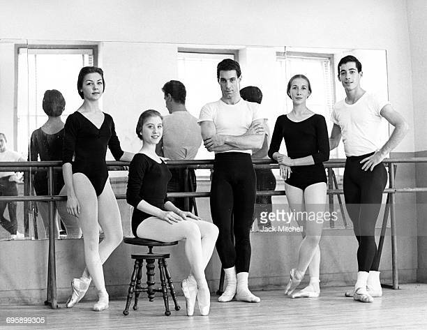 American Ballet Theatre Corp de Ballet Michaela Mattox Rosalin Ricci Antony deVecchi Gillian Orpin and Eliot Feld photographed in 1964