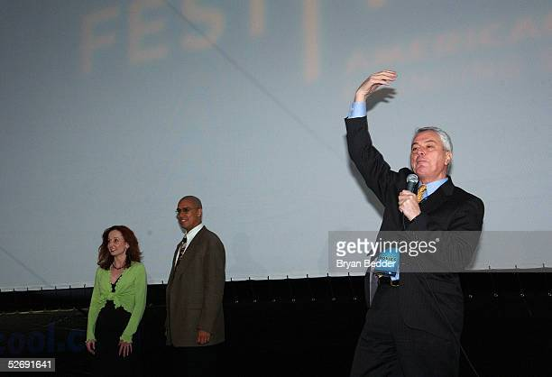 American Ballroom Theatre founder Pierre Dulaine introduces dance instructors Rodney Lopez and Alee Reed at the Mad Hot Ballroom drivein screening at...