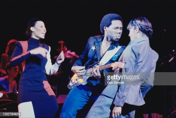 American band Chic perform on stage in London, UK, October 1979; they are Luci Martin, Nile Rodgers, and Alfa Anderson.