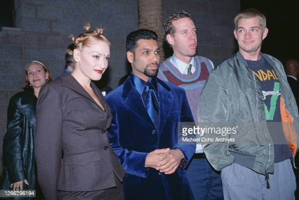 American band No Doubt at the Billboard Music Awards in Las Vegas, 8th December 1997. From left to right, they are singer Gwen Stefani, bassist Tony...