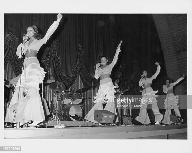 American band Sister Sledge on stage circa 1975