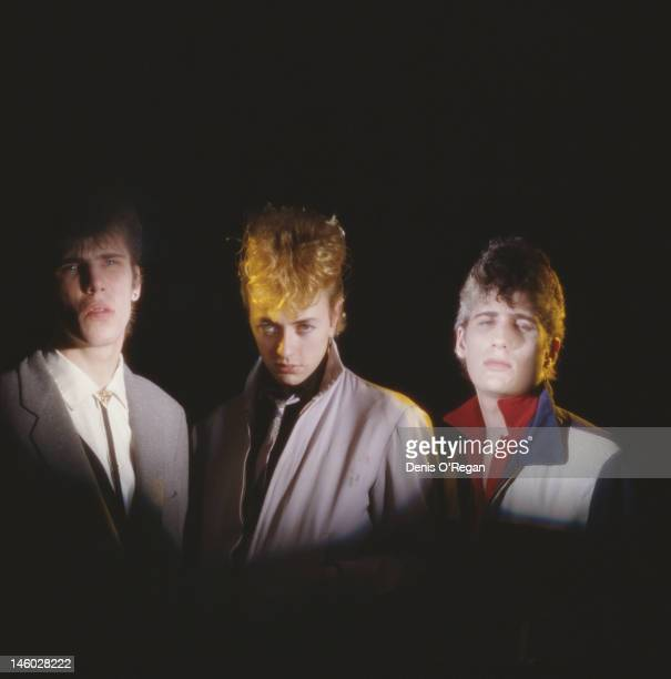 American band Stray Cats circa 1980 From left to right they are drummer Slim Jim Phantom guitarist and singer Brian Setzer and bassist Lee Rocker
