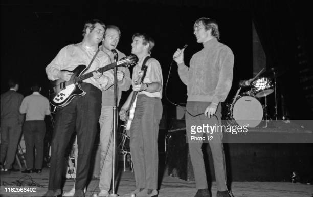 American band The Beach Boys on the stage of the Olympia Hall in Paris. 1964 From left to right: Brian Wilson, Mike Love, Al Jardine, Dennis Wilson.