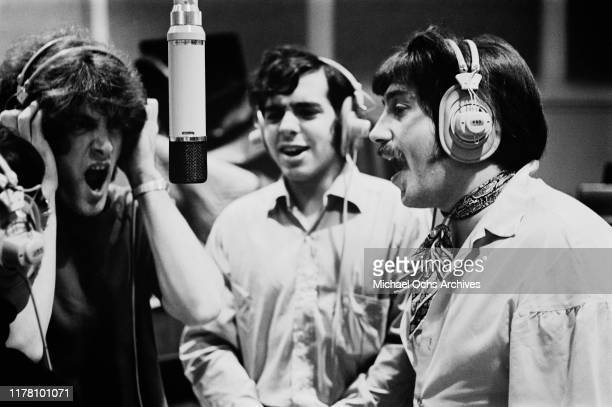 American band Tommy James and the Shondells in a recording studio circa 1968 From left to right singer Tommy James guitarist Eddie Gray and bass...