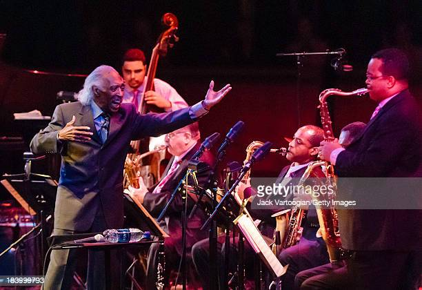 American bandleader, arranger and composer Gerald Wilson leads the Lincoln Center Jazz Orchestra with as musician Victor Goines solos on tenor...