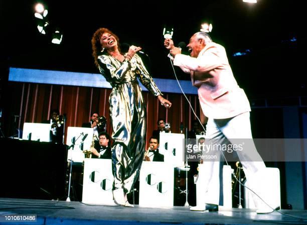 American bandleader Cab Calloway and daughter Chris Calloway performing at Tivoli Gardens Copenhagen Denmark July 1987