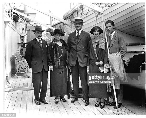 American banker and financier Amadeo Peter Giannini with his family on an ocean liner. From left to right, son L.M. Giannini, wife Clorinda, A.P....