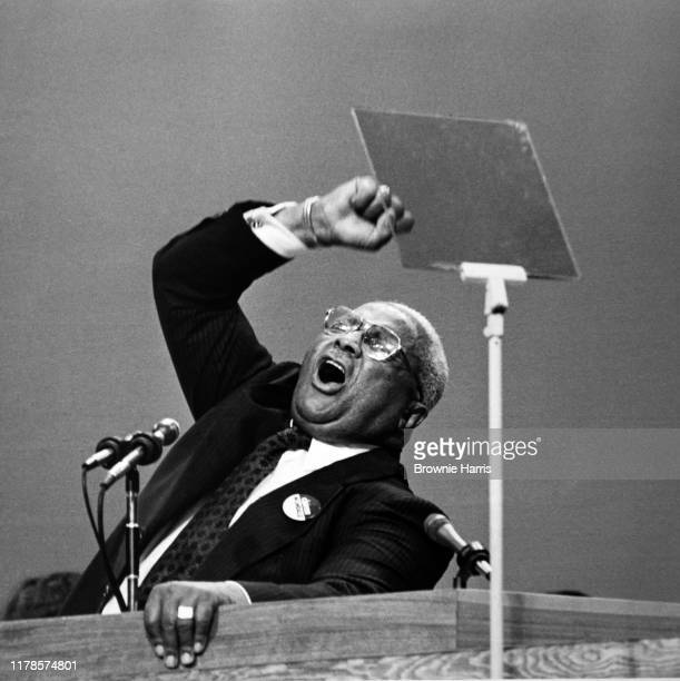 American Baptist pastor Martin Luther King Sr gestures as he speaks at the 1976 Democratic National Convention New York New York July 15 1976
