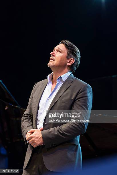 American baritone Nathan Gunn performs an aria during the seventh annual, season-opening concert in the Metropolitan Opera Summer Recital Series at...
