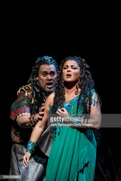 American baritone Quinn Kelsey and Russian soprano Anna Netrebko perform at the final dress rehearsal prior to the season revival of the Metropolitan...