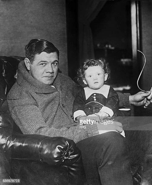 American baseball legend Babe Ruth with his baby daughter Dorothy circa 1922
